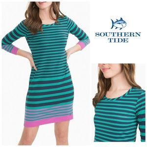 Southern Tide Camille Striped Dress Clover Green M